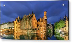 Bruges At Night, Belgium Acrylic Print