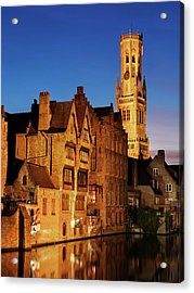 Acrylic Print featuring the photograph Bruges Belfry At Night by Barry O Carroll