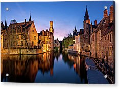 Bruges Canals At Blue Hour Acrylic Print