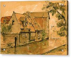 Bruges City Watercolor Acrylic Print by Juan  Bosco