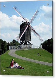 Bruges Windmill Acrylic Print by David L Griffin