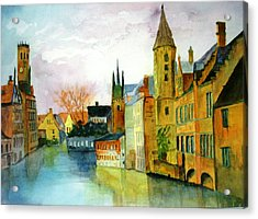 Brugge Belgium Canal Acrylic Print by Larry Hamilton