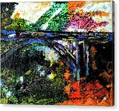 Acrylic Print featuring the mixed media Brush Creek Bridge by Lisa McKinney