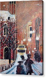Brussels At Night Acrylic Print by Carolyn Donnell