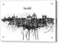 Brussels Black And White Skyline Silhouette Acrylic Print by Marian Voicu