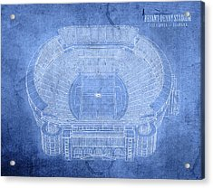 Bryant Denny Stadium Alabama Crimson Tide Football Tuscaloosa Field Blueprints Acrylic Print by Design Turnpike