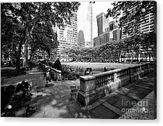 Acrylic Print featuring the photograph Bryant Park Angles by John Rizzuto
