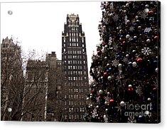 Bryant Park Hotel Christmas Acrylic Print by John Rizzuto