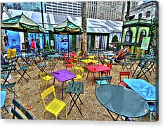 Bryant Park In Vivid Color Acrylic Print by Laura Bode