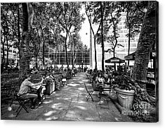 Acrylic Print featuring the photograph Bryant Park Reading by John Rizzuto