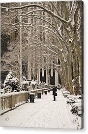 Bryant Park Snow Acrylic Print by Andrew Kazmierski