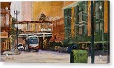 Bryn Mawr Edgewater El Stop Acrylic Print by Nancy Albrecht