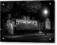 Bryson City  Caboose In Black And White Acrylic Print