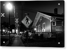 Bryson City Depot At Night In Black And White Acrylic Print