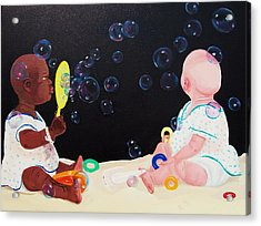 Acrylic Print featuring the painting Bubble Babies by Susan Roberts