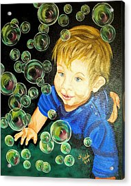Bubble Baby Acrylic Print by Kathern Welsh