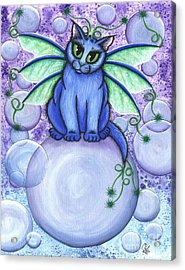 Bubble Fairy Cat Acrylic Print