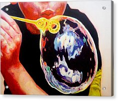 Bubble Acrylic Print by Lizzie  Johnson