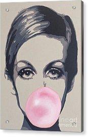 Bubblegum Beauty Acrylic Print by Sara Sutton