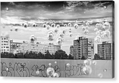 Bubbles And The City Acrylic Print by John Williams
