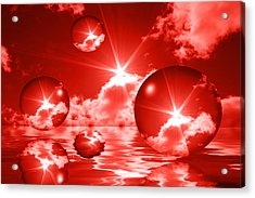 Acrylic Print featuring the photograph Bubbles In The Sun - Red by Shane Bechler