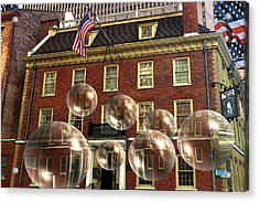 Bubbles Of New York History - Photo Collage Acrylic Print
