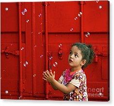 Bubbling Girl Acrylic Print