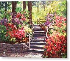 Buchart Garden Stairway Acrylic Print by Laurie Hein