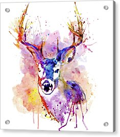 Acrylic Print featuring the mixed media Buck by Marian Voicu