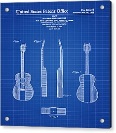 Buck Owens Guitar Patent 1972 Blue Print Acrylic Print by Bill Cannon