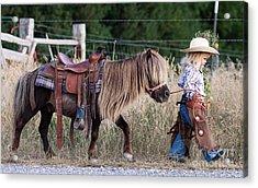 Buckaroo Cowgirl Acrylic Print by Cindy Singleton