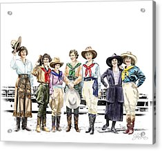 Buckin Horse Suffragettes Acrylic Print by Shirley Morris