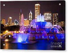 Buckingham Fountain At Night With Chicago Skyline Acrylic Print by Paul Velgos
