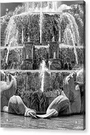 Buckingham Fountain Closeup Black And White Acrylic Print