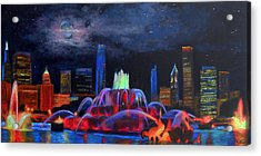 Buckingham Fountain In Chicago Acrylic Print by Michael Durst