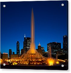 Buckingham Fountain Nightlight Chicago Acrylic Print by Steve Gadomski