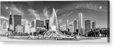 Buckingham Fountain Skyline Panorama Black And White Acrylic Print