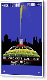 Buckingham Fountain Vintage Travel Poster Acrylic Print