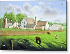 Acrylic Print featuring the painting Buckingham Horse Farm by Oz Freedgood