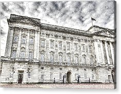 Buckingham Palace London Snow Acrylic Print by David Pyatt