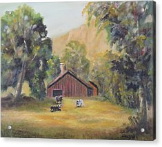 Acrylic Print featuring the painting Bucks County Pa Barn by Katalin Luczay
