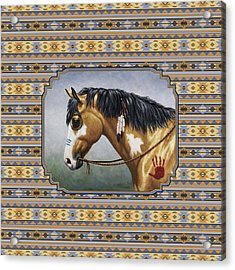Buckskin Native American War Horse Southwest Acrylic Print by Crista Forest