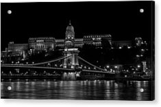 Buda Castle And Szechenyi Chain Bridge Over The Danube River Acrylic Print