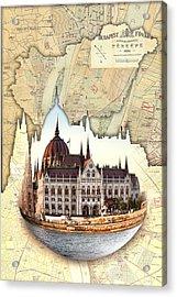 Budapest Globe Map Acrylic Print