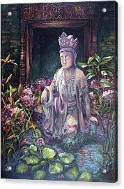 Budda Statue And Pond Acrylic Print