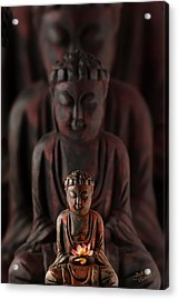 Buddah With Lotus Flower Acrylic Print by Judi Quelland
