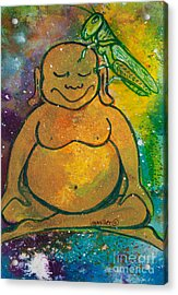 Buddha And The Divine Grasshopper No. 1309 Acrylic Print by Ilisa Millermoon
