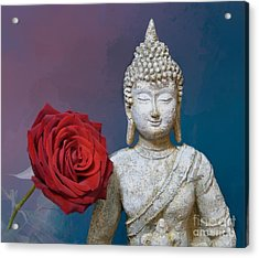 Buddha And Rose Acrylic Print