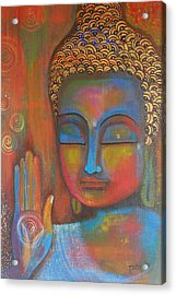 Acrylic Print featuring the painting Buddha Blessings by Prerna Poojara