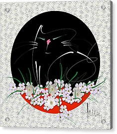 Acrylic Print featuring the mixed media Buddha Cat by Larry Talley